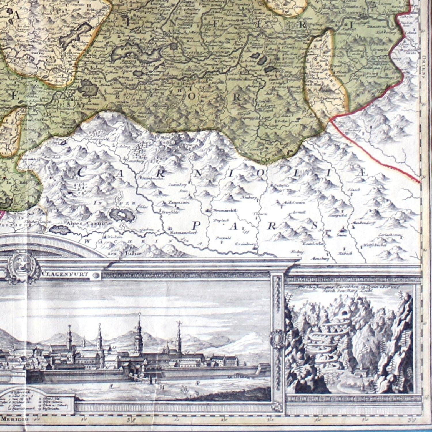 Antique Austrian Map 1720 Framed Original Engraving-0