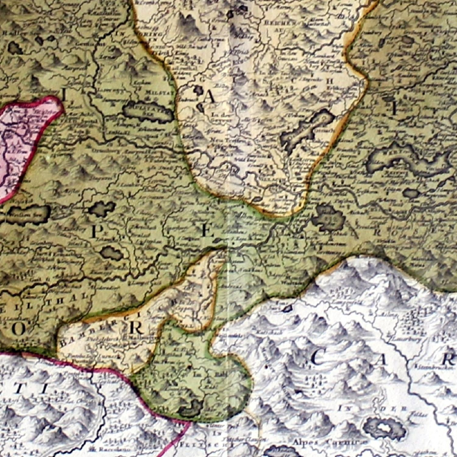Antique Austrian Map 1720 Framed Original Engraving-1