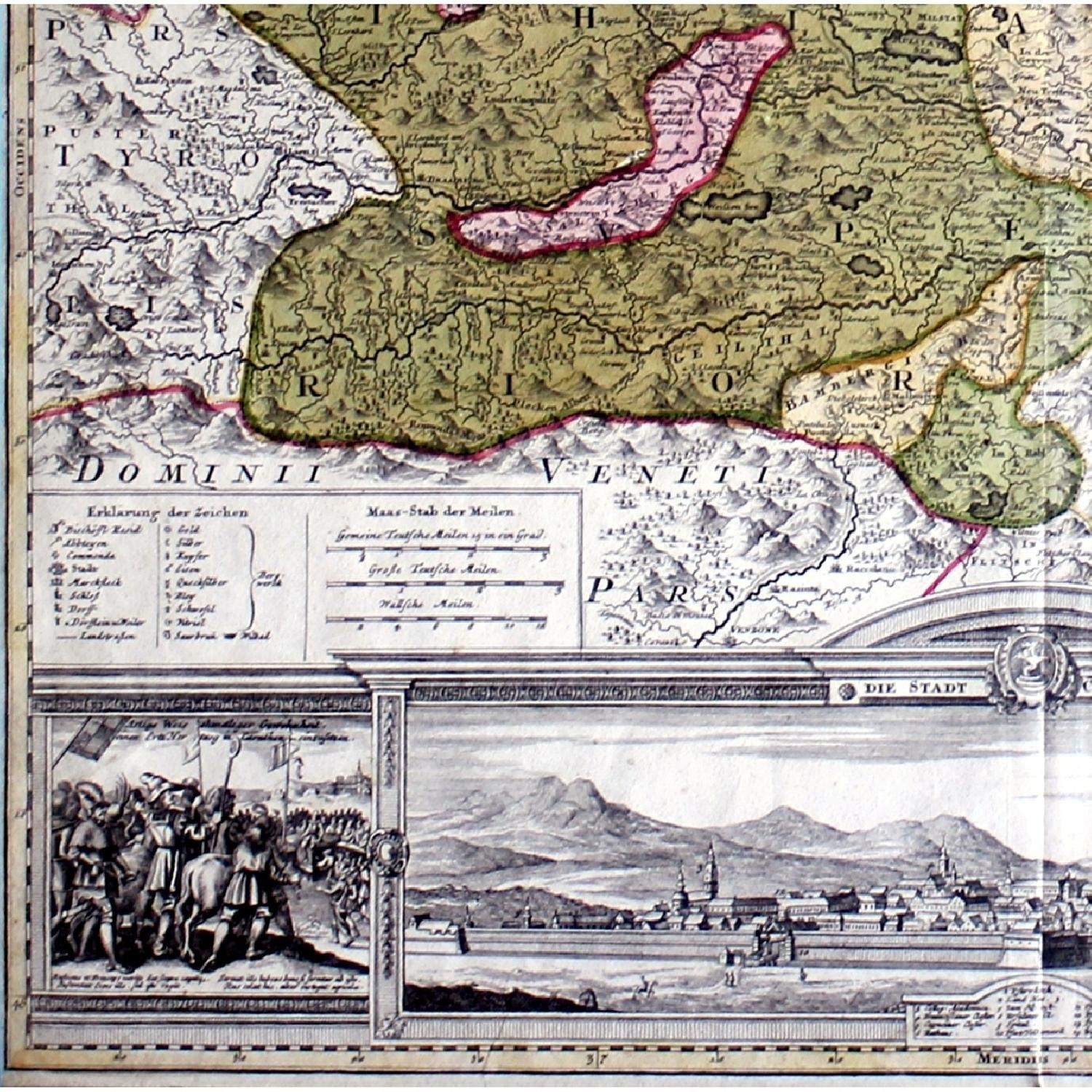 Antique Austrian Map 1720 Framed Original Engraving-3