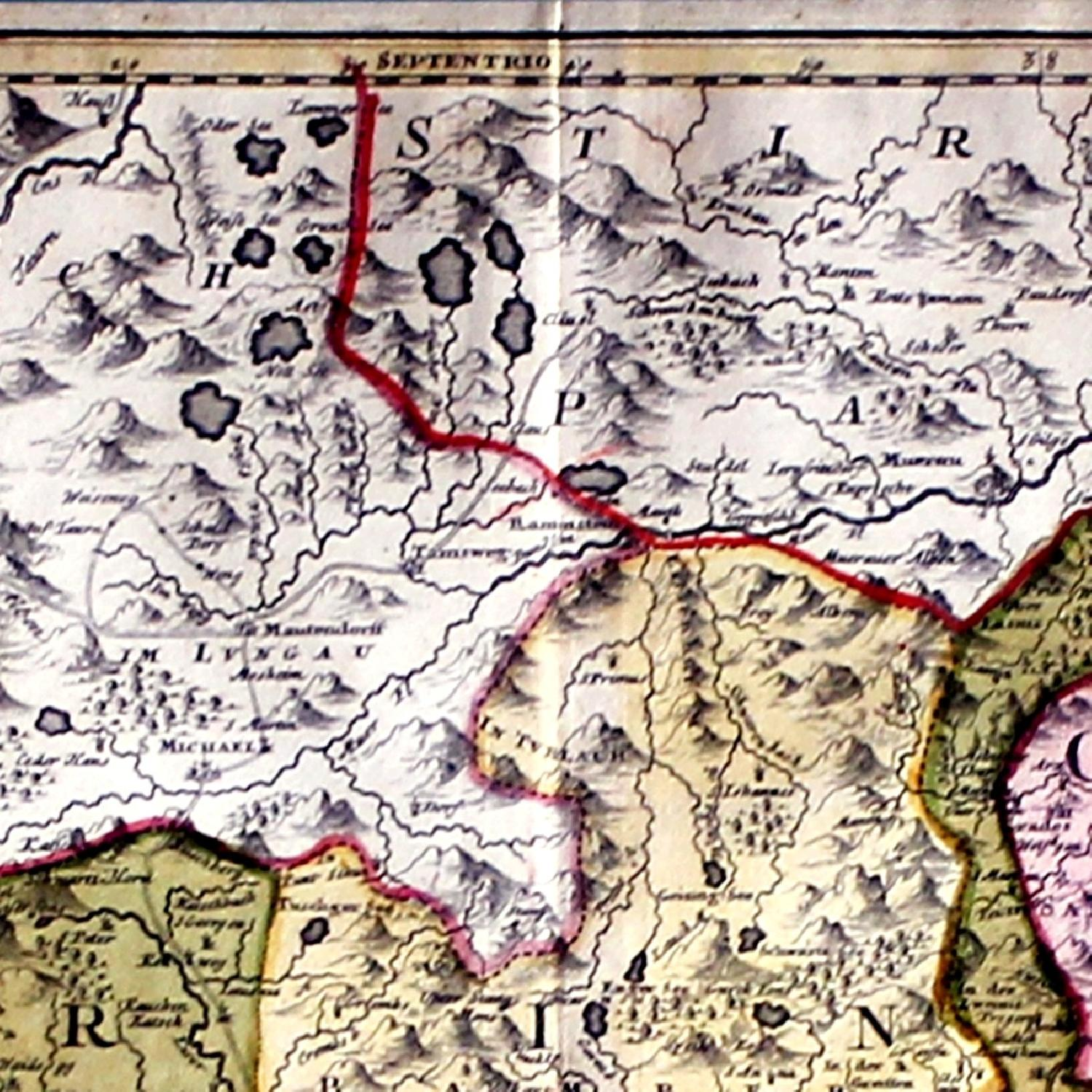 Antique Austrian Map 1720 Framed Original Engraving-4