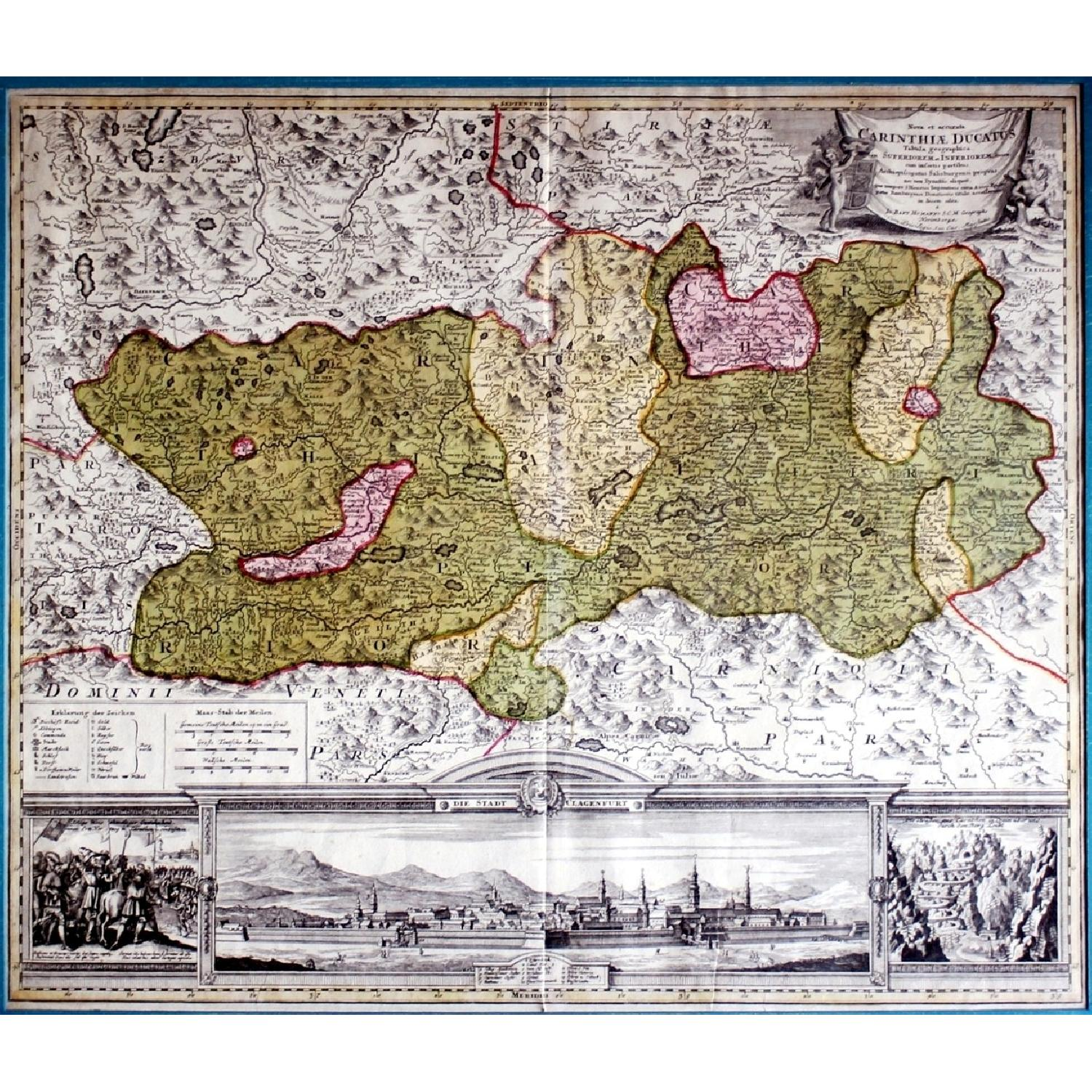 Antique Austrian Map 1720 Framed Original Engraving-6