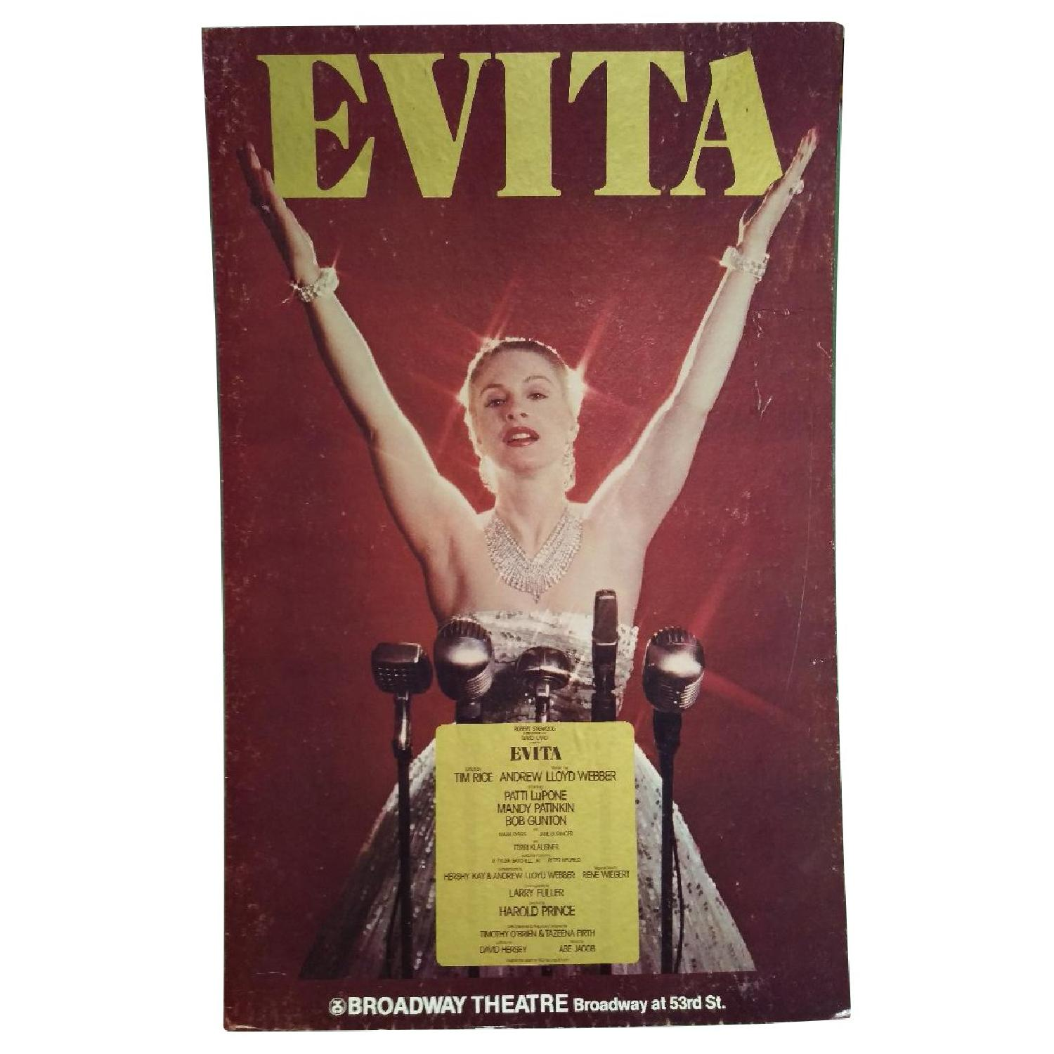 1970s Evita Patti Lupone Broadway Theater Board Sign