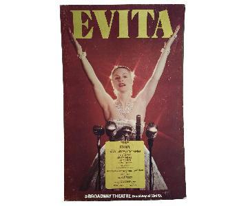 1970s Evita Patti Lupone Broadway Theater Board Sign