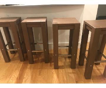 Ikea Driftwood Barstools w/ Steel Accents