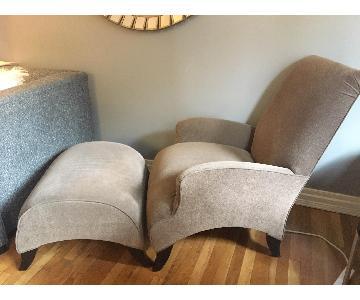 Golden Brown Accent Chair & Ottoman