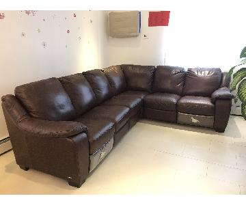 Natuzzi Leather Reclining 6 Piece Sectional Sofa