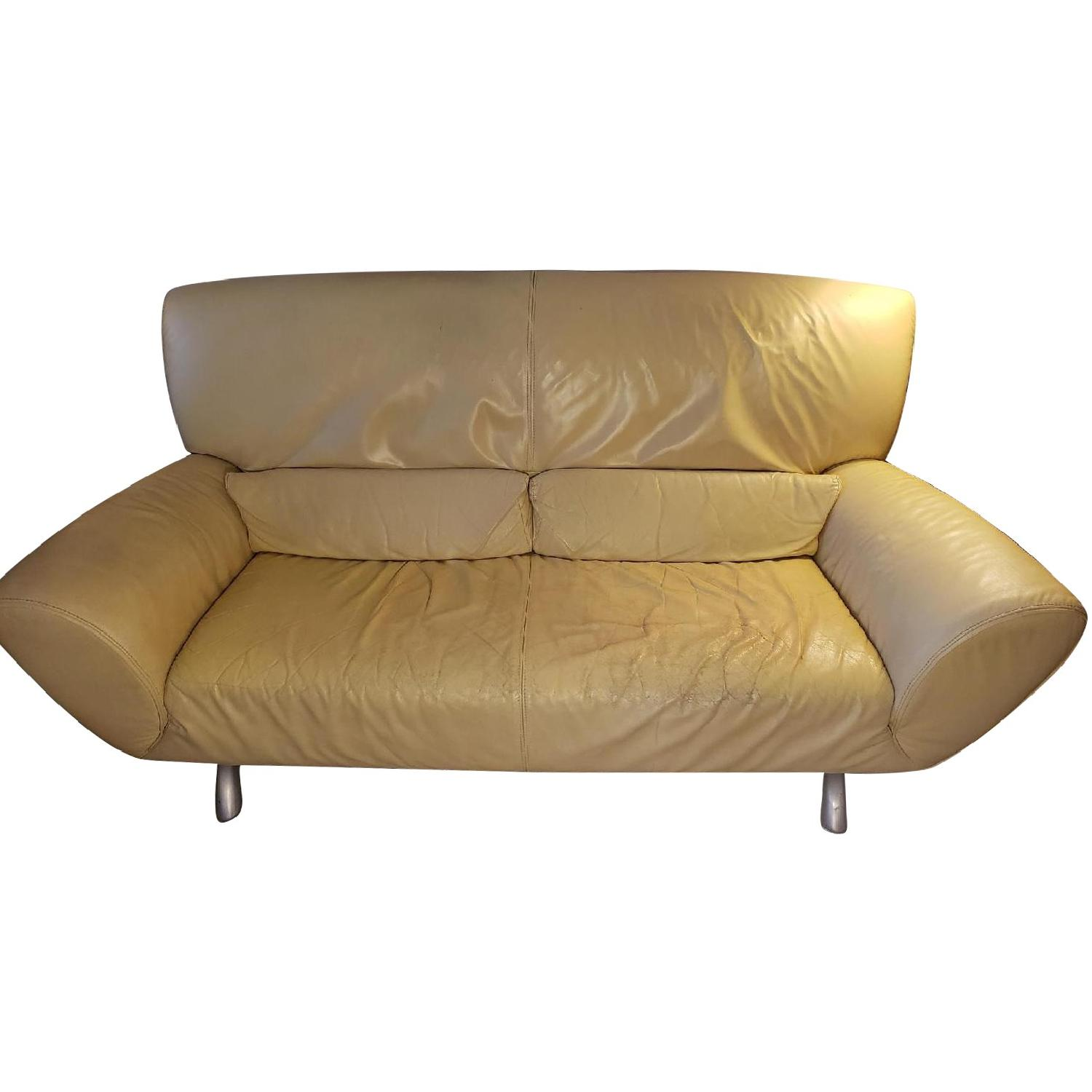 Light Yellow Leather Sofa Aptdeco