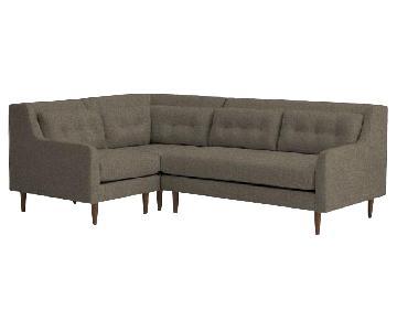 West Elm 3-Piece Sectional Sofa in Linen Weave Pebble Gray