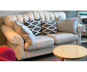 West Elm Beige Tufted Loveseat
