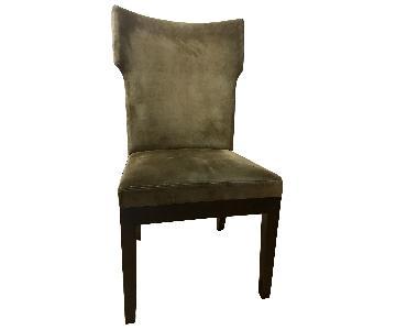 West Elm Dark Green Suede Dining Chairs