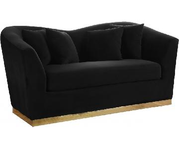 Meridian Gold & Black Loveseat