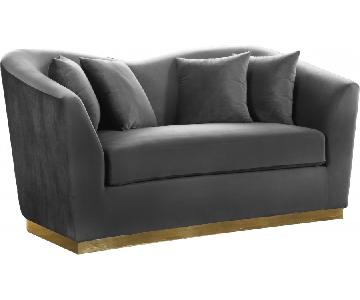 Meridian Gold & Grey Loveseat
