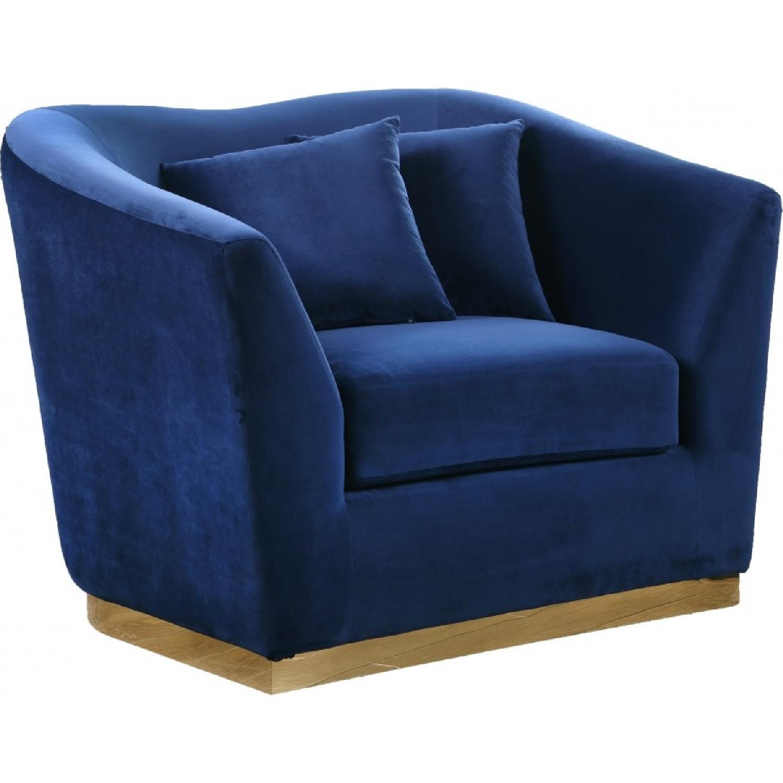 Meridian Gold & Blue Velvet Chair