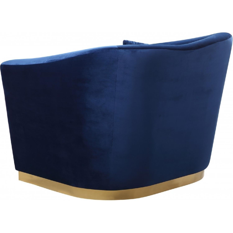 Meridian Gold & Blue Velvet Chair-0