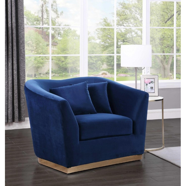 Meridian Gold & Blue Velvet Chair-1