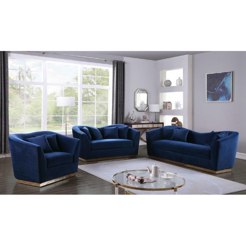 Meridian Gold & Blue Velvet Chair-2