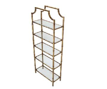 Antique Mid Century Faux Bamboo Brass Etegare/Open Display