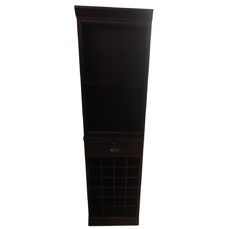 Black Wood Book Shelf w/ Wine Storage