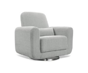 Babyletto Tuba Glider Chair & Ottoman in Light Grey