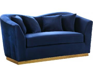 Meridian Gold & Blue Velvet Loveseat