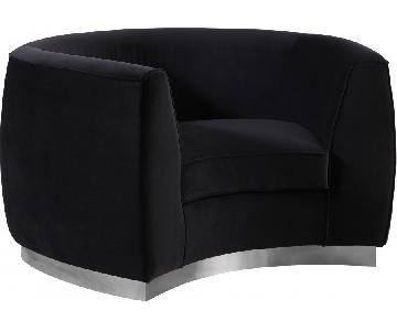Meridian Platinum & Black Velvet Chair