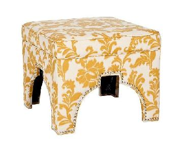 One Kings Lane Pearce Marigold & Ivory Ottomans