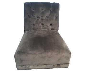 Dark Brown Suede Floor Chairs