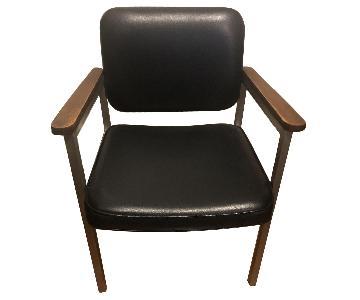 InterRoyal Corp MCM Brushed Steel Black Vinyl Dining Chair
