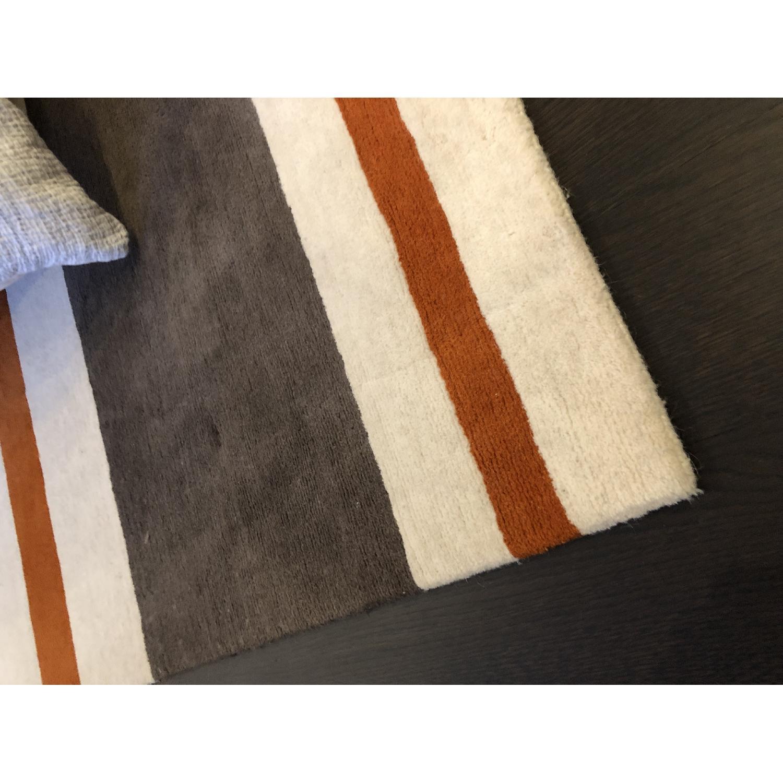 Contemporary Stripe Wool Rug-2