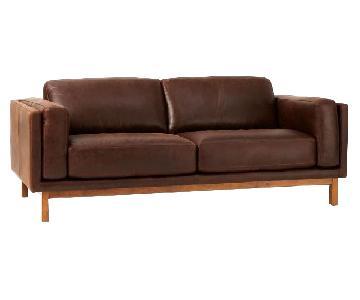 West Elm Dekalb Leather Sofa in Brown