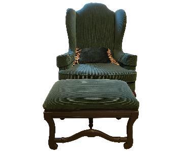 Vintage Wingback Armchair & Ottoman