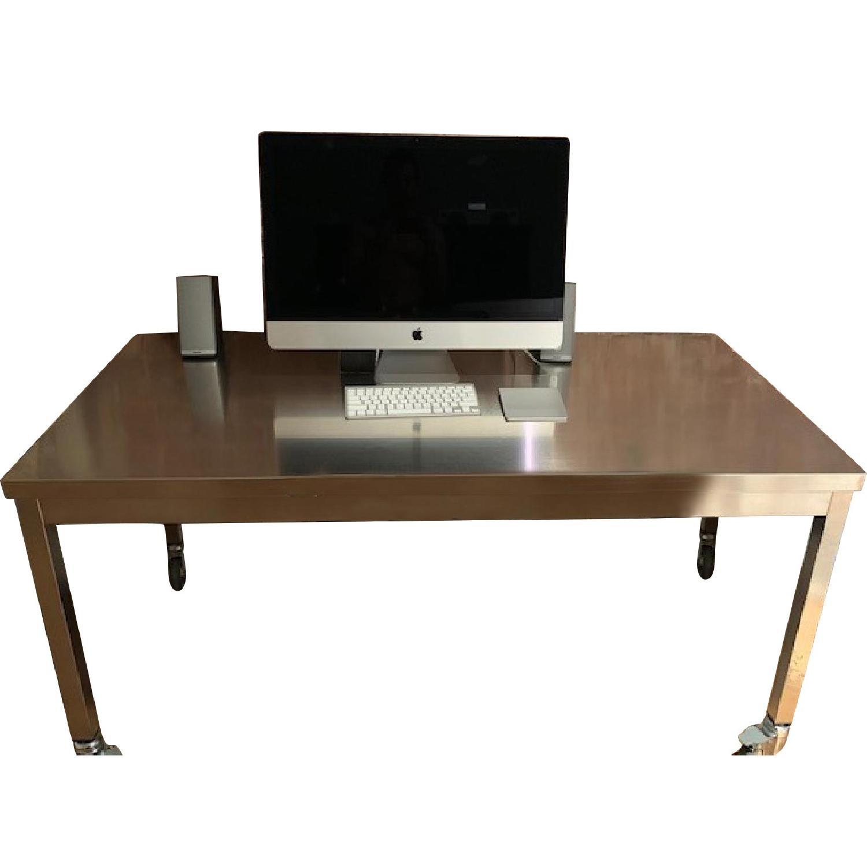 Metal Desk & Black Ergonomic Chair