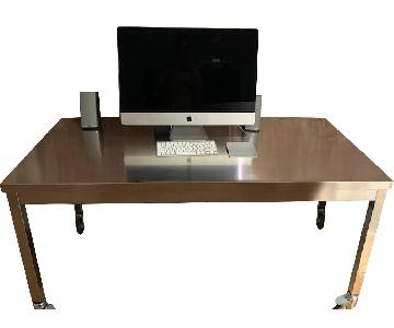 Metal Desk & Black Ergonomic Chair