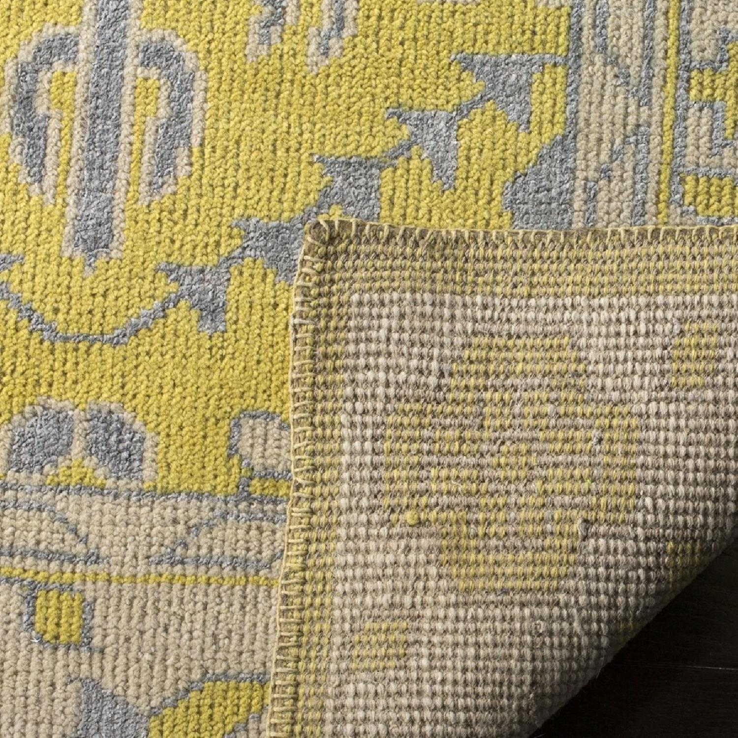 Safavieh Hand-Knotted Stone Wash Yellow Wool & Cotton Rug-2