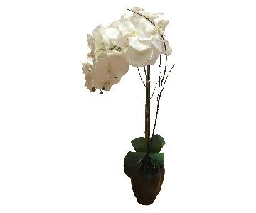 Faux Large White Potted Orchid