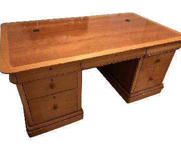 Light Wood Deep Top Desk w/ Pullout for Laptop