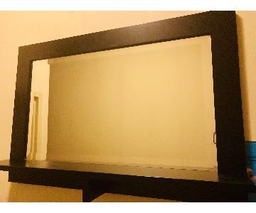 Black Mirror w/ Small Decor Shelf