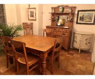 Antique Oak Farmers Table