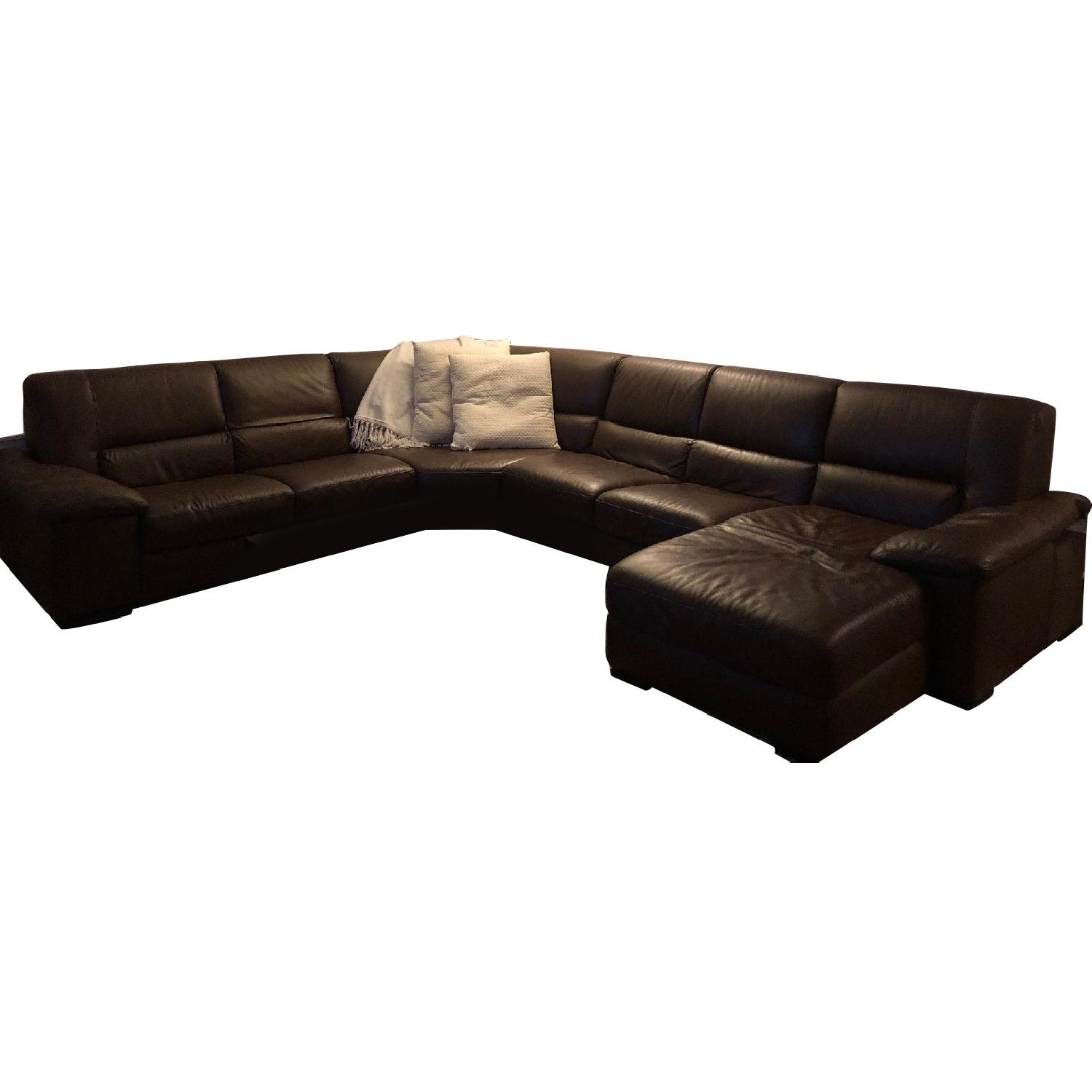 Macy's Milan Leather 4-Piece Sectional Sofa