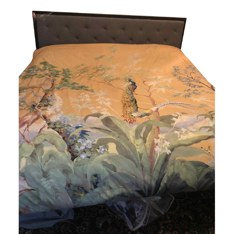 Sleep Master Metal Bed Frame w/ Upholstered Headboard