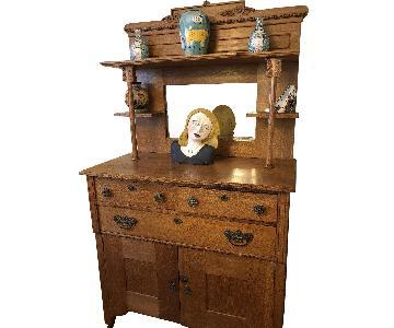 Vintage Ornate Storage Cabinet w/ Shelves