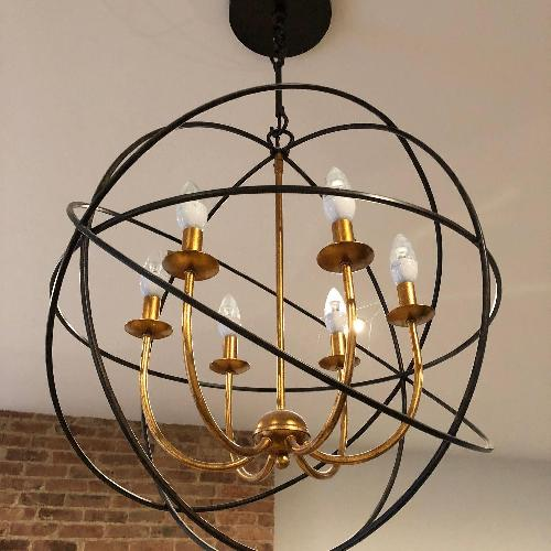 Used Horchow Gold Orbit 6-Light Chandelier for sale on AptDeco