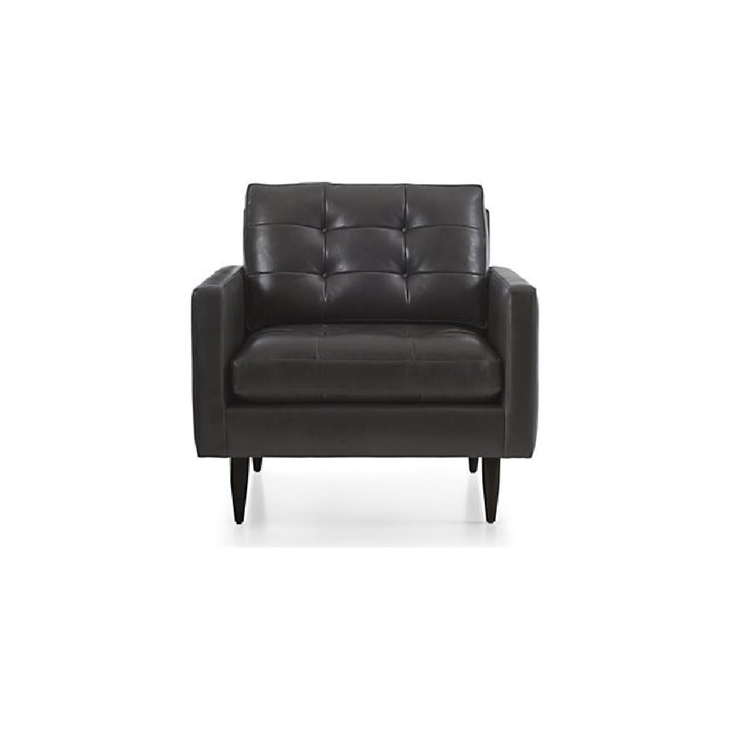 Crate & Barrel Petrie Leather Mid Century Chair + Ottoman