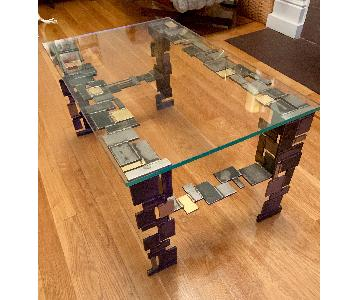 Modern Glass-Top Metal Coffee Table
