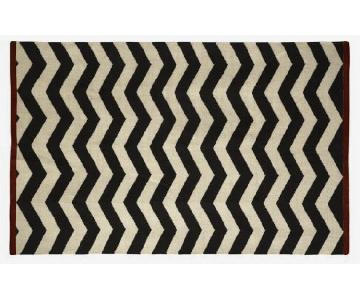 West Elm Black White & Red Zig Zag Rug