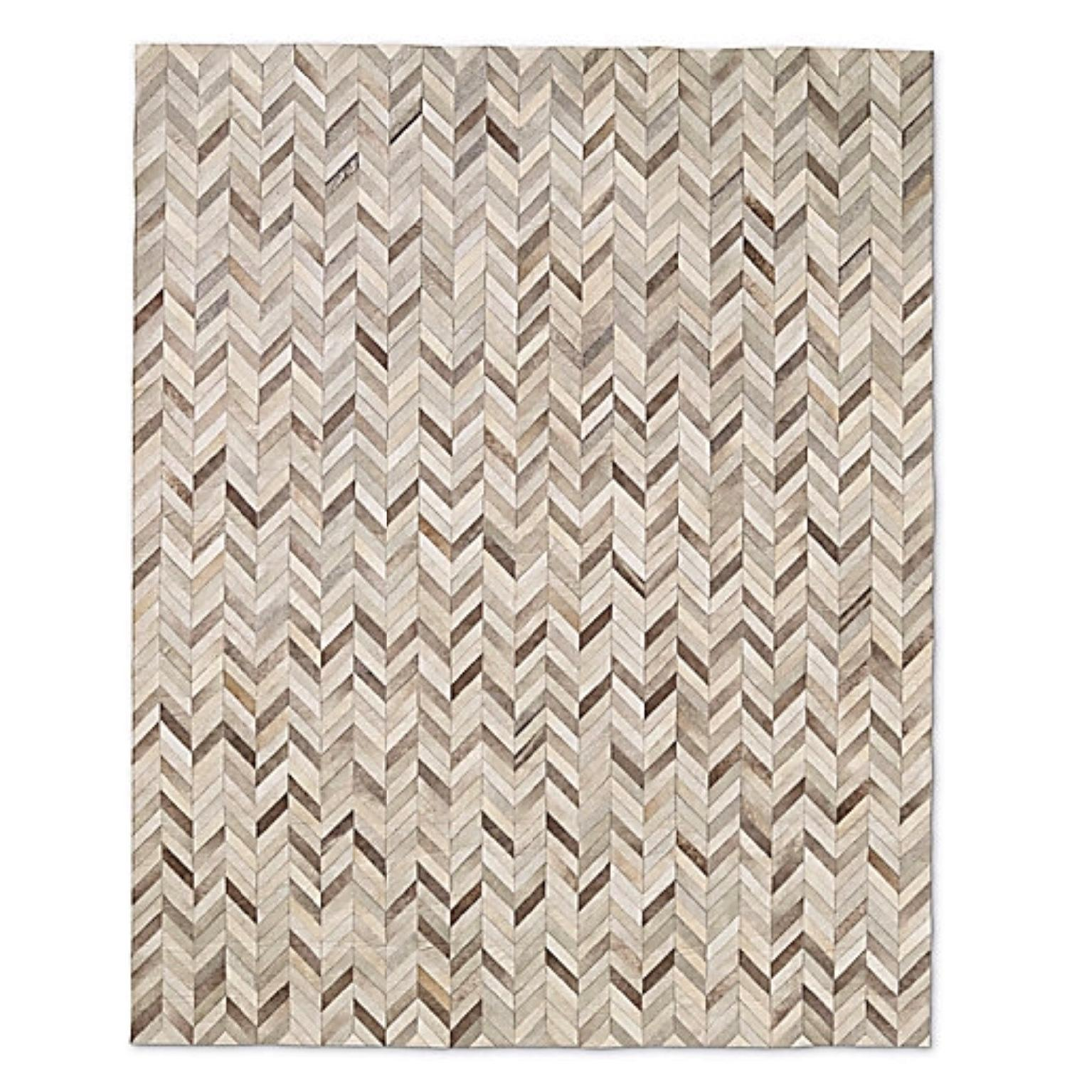 Restoration Hardware Chevron Cowhide Rug in Sand