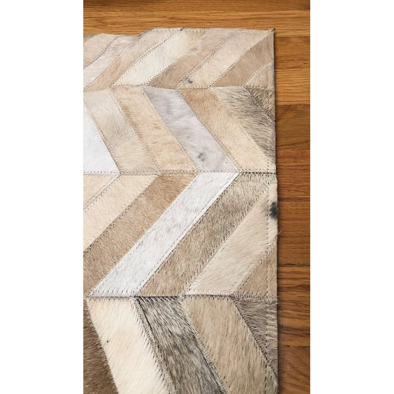 Restoration Hardware Chevron Cowhide Rug in Sand-1
