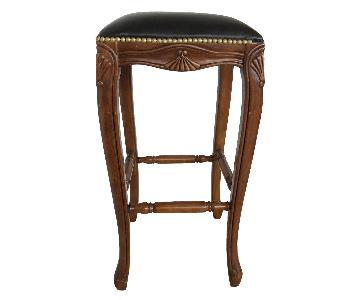 Wooden Bar Stools w/ Leather Seats