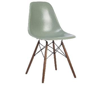 Eames DSW Seafoam Chair on Walnut Base
