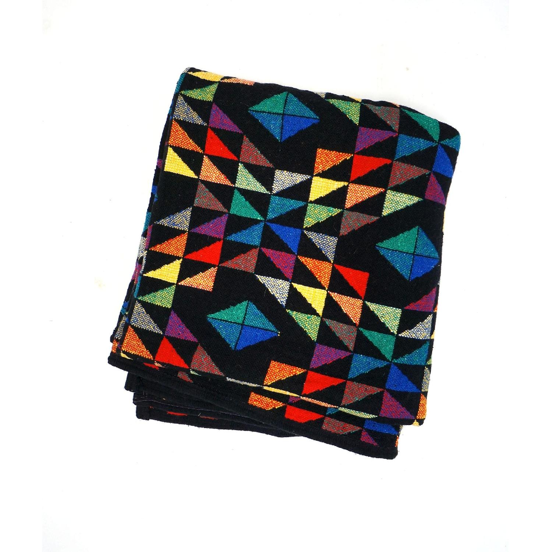 1970s Vintage Multicolor Wool Blanket
